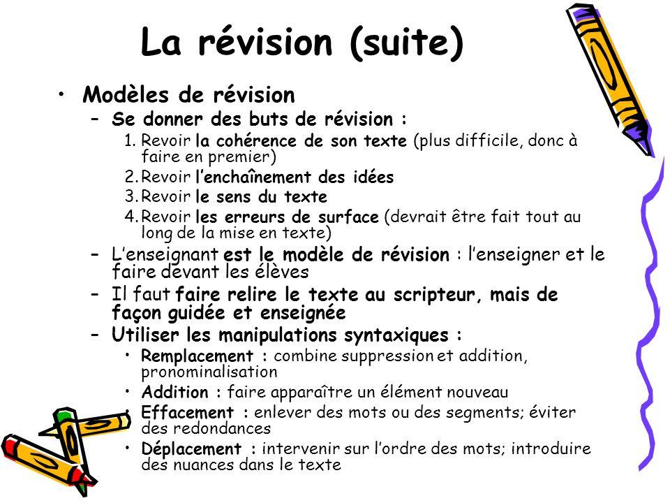 La révision (suite) Modèles de révision –Se donner des buts de révision : 1.Revoir la cohérence de son texte (plus difficile, donc à faire en premier)