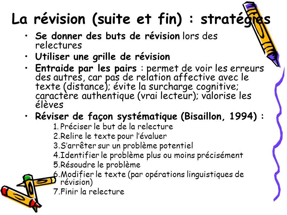 La révision (suite et fin) : stratégies Se donner des buts de révision lors des relectures Utiliser une grille de révision Entraide par les pairs : pe