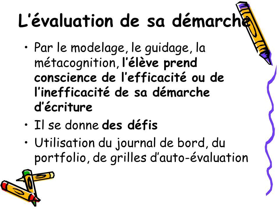 Lévaluation de sa démarche Par le modelage, le guidage, la métacognition, lélève prend conscience de lefficacité ou de linefficacité de sa démarche dé