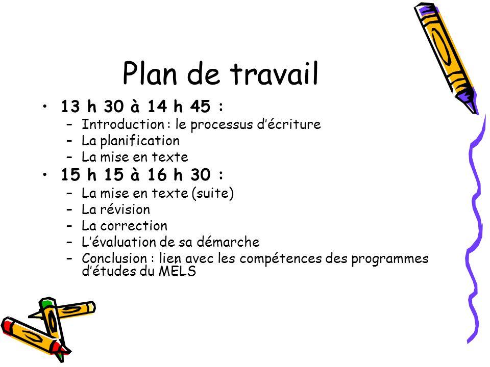 Plan de travail 13 h 30 à 14 h 45 : –Introduction : le processus décriture –La planification –La mise en texte 15 h 15 à 16 h 30 : –La mise en texte (