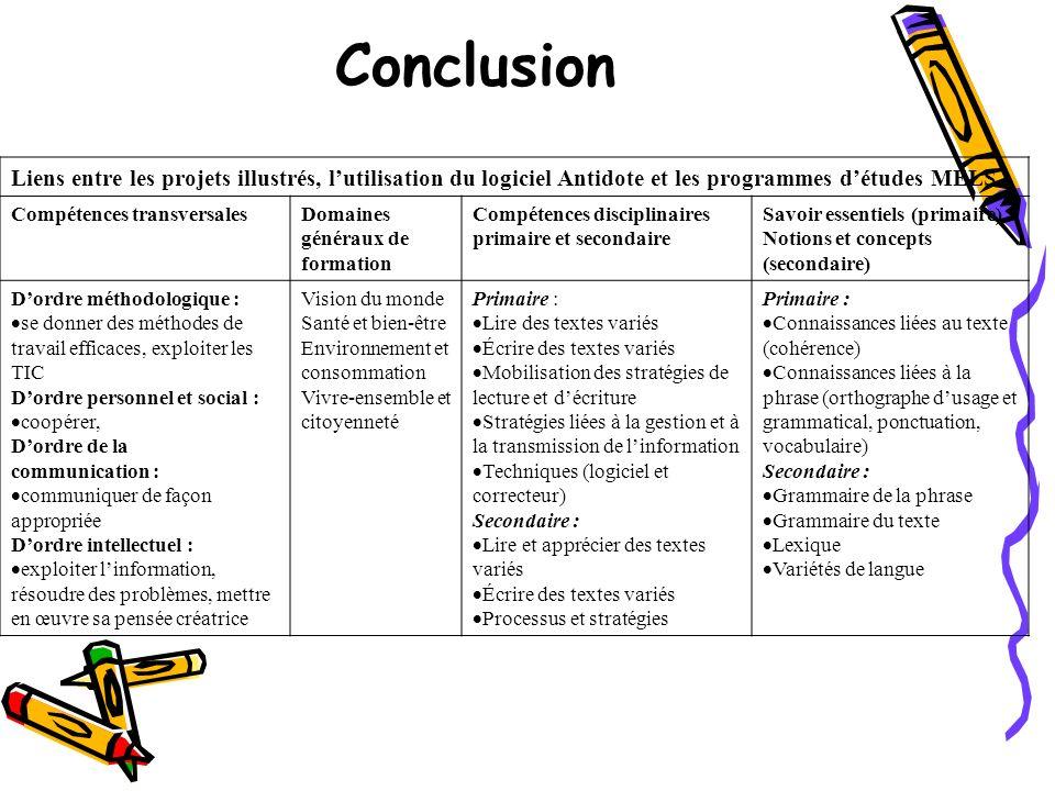 Conclusion Liens entre les projets illustrés, lutilisation du logiciel Antidote et les programmes détudes MÉLS Compétences transversalesDomaines génér