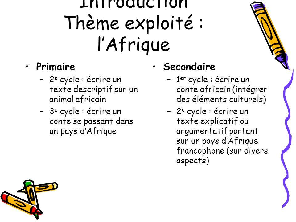 Introduction Thème exploité : lAfrique Primaire –2 e cycle : écrire un texte descriptif sur un animal africain –3 e cycle : écrire un conte se passant