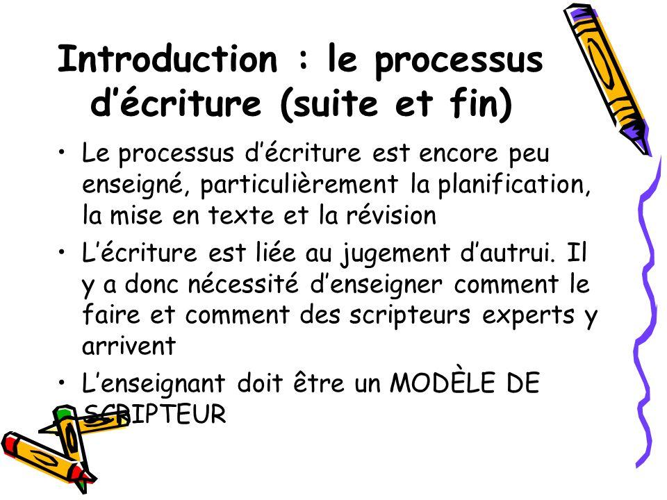 Introduction : le processus décriture (suite et fin) Le processus décriture est encore peu enseigné, particulièrement la planification, la mise en tex