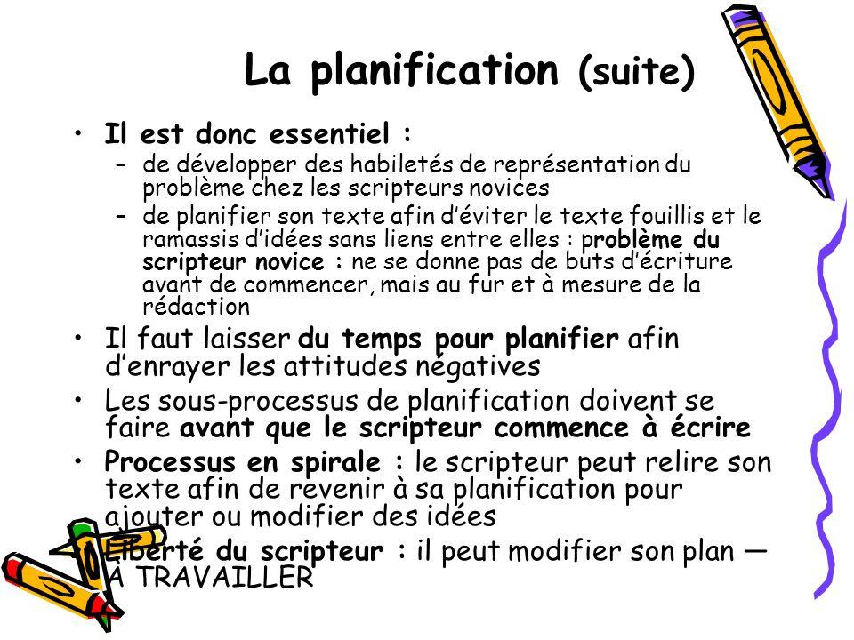 La planification (suite) Il est donc essentiel : –de développer des habiletés de représentation du problème chez les scripteurs novices –de planifier