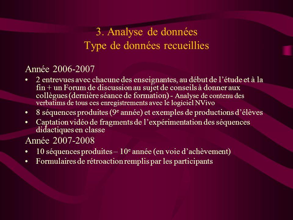 3. Analyse de données Type de données recueillies Année 2006-2007 2 entrevues avec chacune des enseignantes, au début de létude et à la fin + un Forum