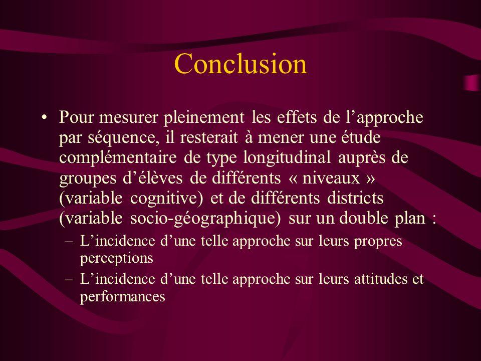 Conclusion Pour mesurer pleinement les effets de lapproche par séquence, il resterait à mener une étude complémentaire de type longitudinal auprès de