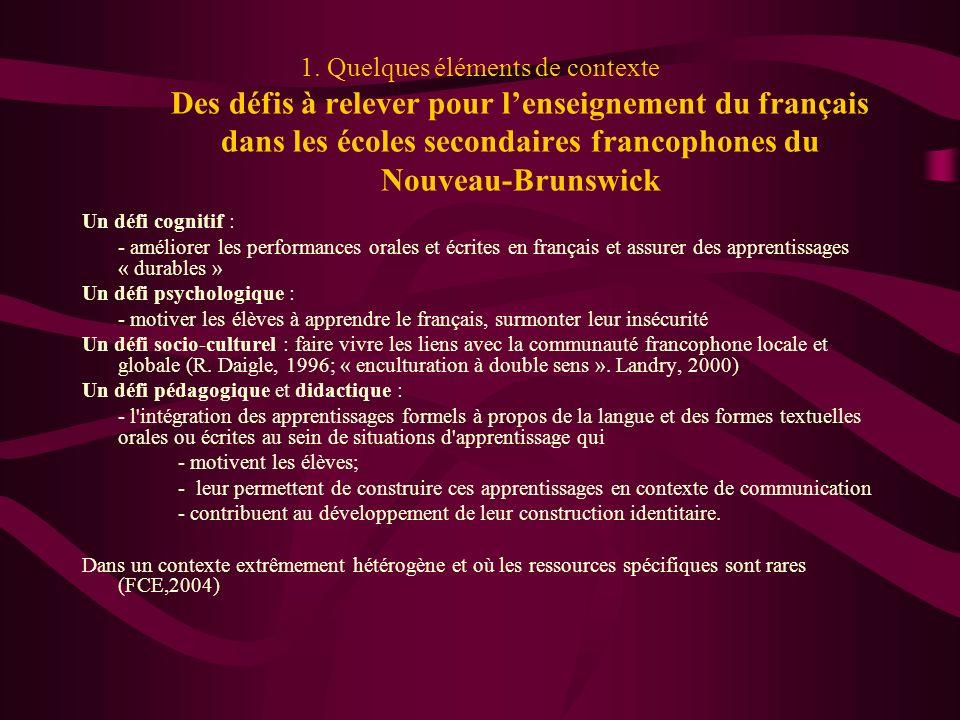 1. Quelques éléments de contexte Des défis à relever pour lenseignement du français dans les écoles secondaires francophones du Nouveau-Brunswick Un d