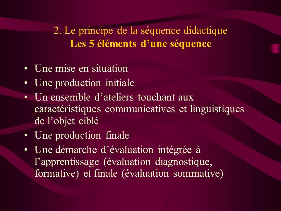 2. Le principe de la séquence didactique Les 5 éléments dune séquence Une mise en situation Une production initiale Un ensemble dateliers touchant aux