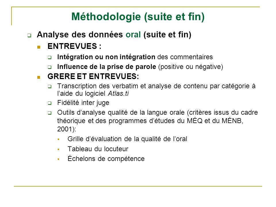 Méthodologie (suite et fin) Analyse des données oral (suite et fin) ENTREVUES : Intégration ou non intégration des commentaires Influence de la prise