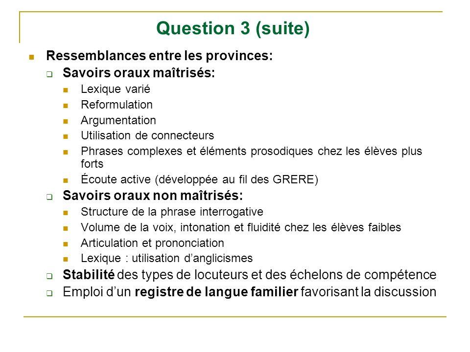Question 3 (suite) Ressemblances entre les provinces: Savoirs oraux maîtrisés: Lexique varié Reformulation Argumentation Utilisation de connecteurs Ph