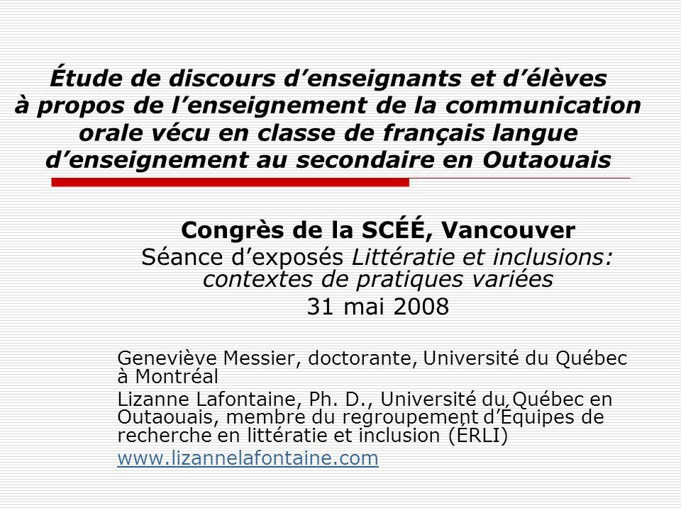 Étude de discours denseignants et délèves à propos de lenseignement de la communication orale vécu en classe de français langue denseignement au secon