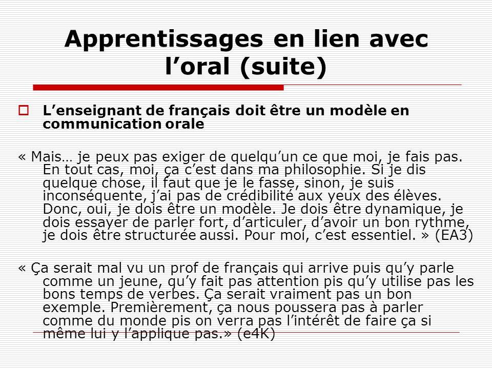 Apprentissages en lien avec loral (suite) Lenseignant de français doit être un modèle en communication orale « Mais… je peux pas exiger de quelquun ce