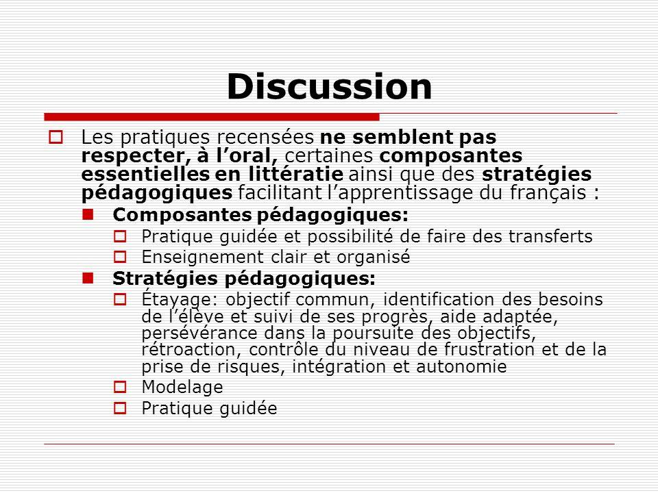 Discussion Les pratiques recensées ne semblent pas respecter, à loral, certaines composantes essentielles en littératie ainsi que des stratégies pédag