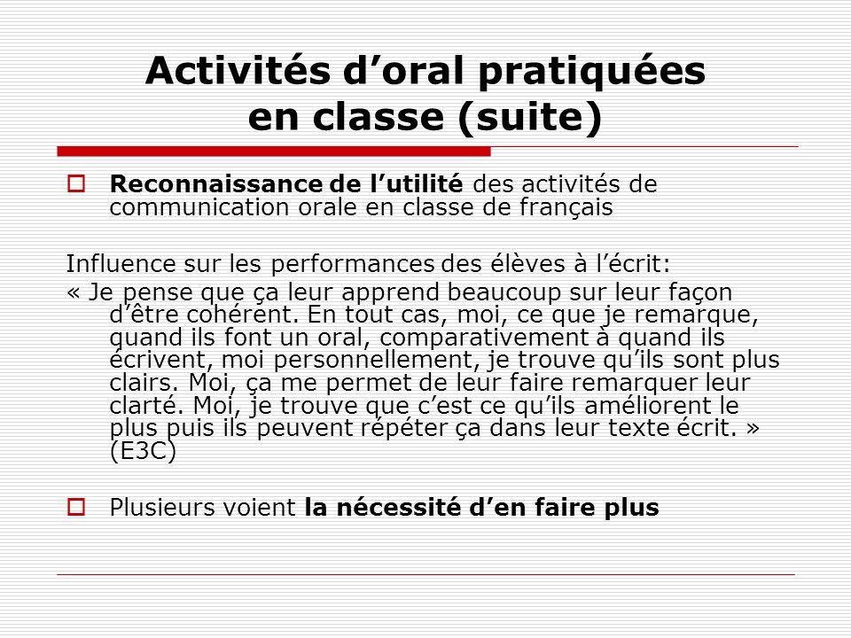 Activités doral pratiquées en classe (suite) Reconnaissance de lutilité des activités de communication orale en classe de français Influence sur les p