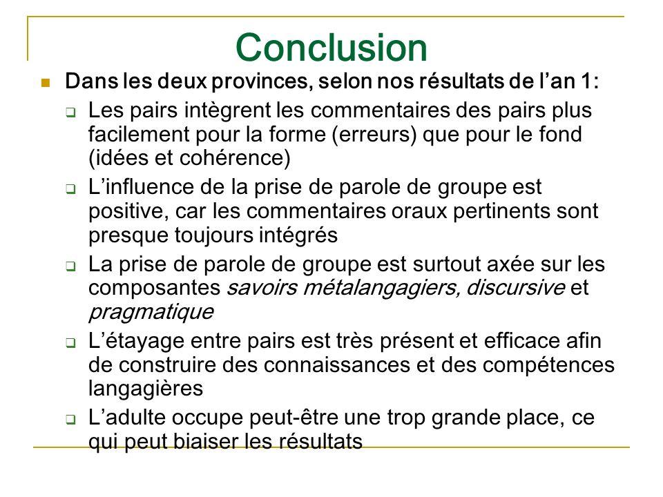 Conclusion Dans les deux provinces, selon nos résultats de lan 1: Les pairs intègrent les commentaires des pairs plus facilement pour la forme (erreur