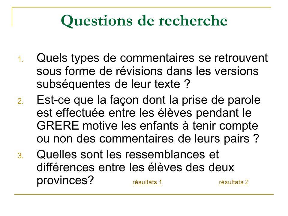 Questions de recherche 1. Quels types de commentaires se retrouvent sous forme de révisions dans les versions subséquentes de leur texte ? 2. Est-ce q
