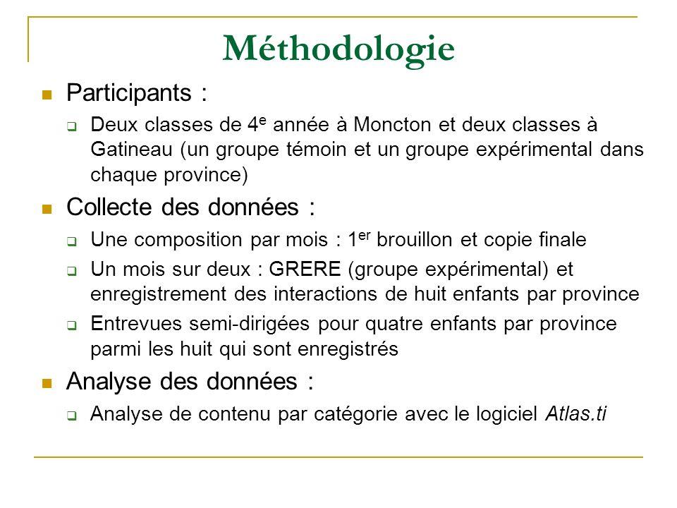 Méthodologie Participants : Deux classes de 4 e année à Moncton et deux classes à Gatineau (un groupe témoin et un groupe expérimental dans chaque pro