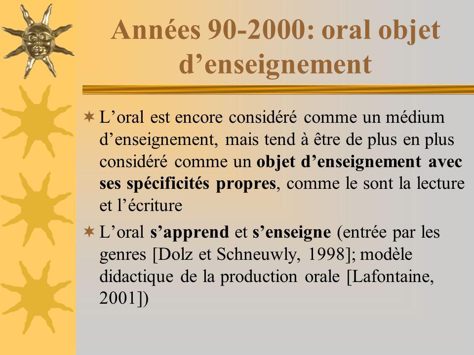 Années 90-2000: oral objet denseignement Loral est encore considéré comme un médium denseignement, mais tend à être de plus en plus considéré comme un objet denseignement avec ses spécificités propres, comme le sont la lecture et lécriture Loral sapprend et senseigne (entrée par les genres [Dolz et Schneuwly, 1998]; modèle didactique de la production orale [Lafontaine, 2001])