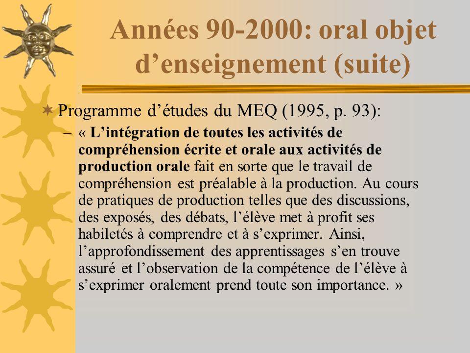 Années 90-2000: oral objet denseignement (suite) Programme détudes du MEQ (1995, p.
