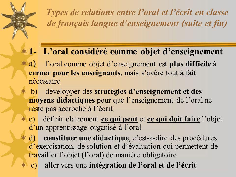 Types de relations entre loral et lécrit en classe de français langue denseignement (suite et fin) 1- Loral considéré comme objet denseignement a) loral comme objet denseignement est plus difficile à cerner pour les enseignants, mais savère tout à fait nécessaire b) développer des stratégies denseignement et des moyens didactiques pour que lenseignement de loral ne reste pas accroché à lécrit c) définir clairement ce qui peut et ce qui doit faire lobjet dun apprentissage organisé à loral d) constituer une didactique, cest-à-dire des procédures dexercisation, de solution et dévaluation qui permettent de travailler lobjet (loral) de manière obligatoire e) aller vers une intégration de loral et de lécrit