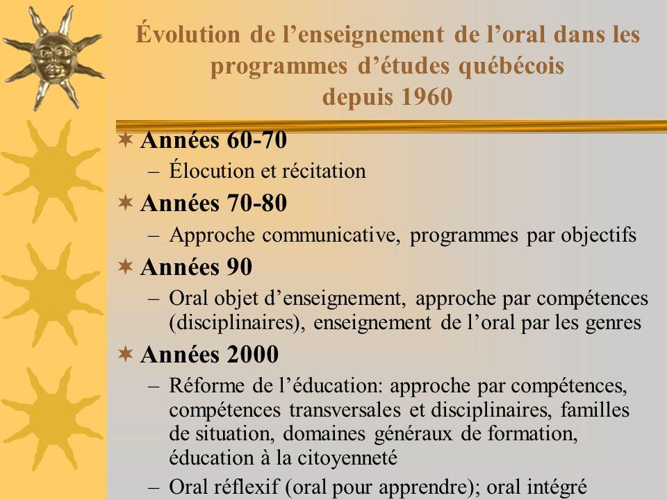 Années 90-2000: oral objet denseignement (suite et fin) Programme détudes du MEQ (1995, p.