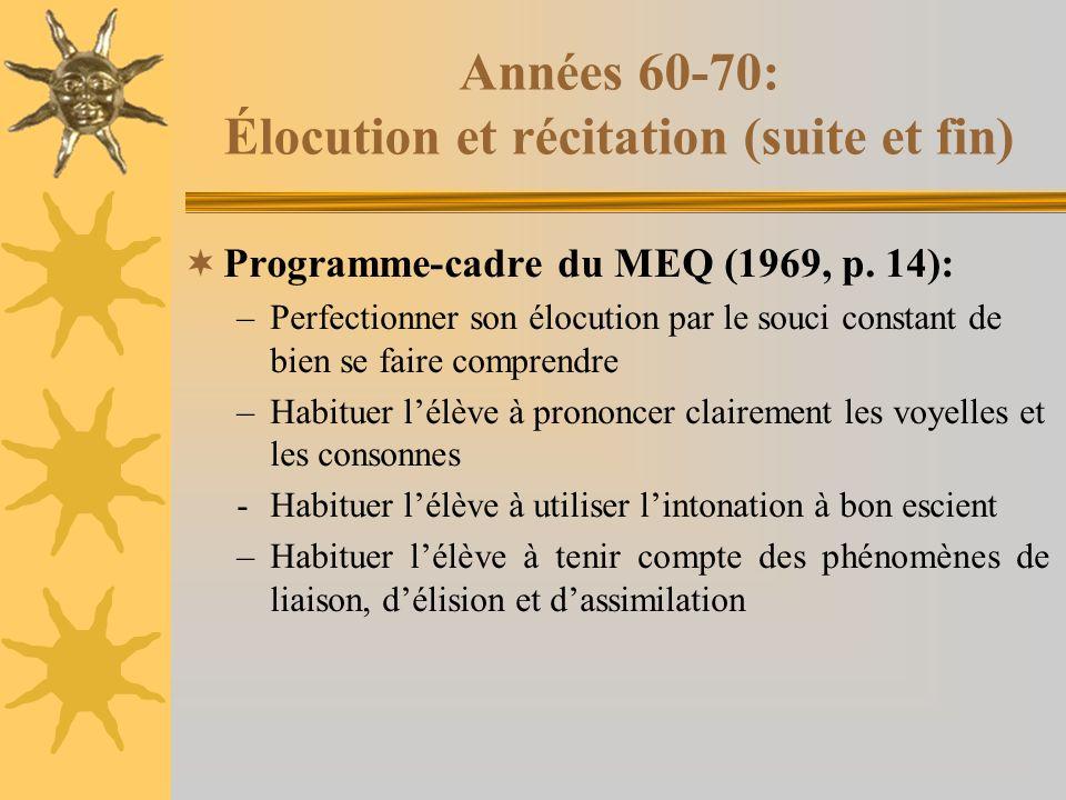 Années 60-70: Élocution et récitation (suite et fin) Programme-cadre du MEQ (1969, p.