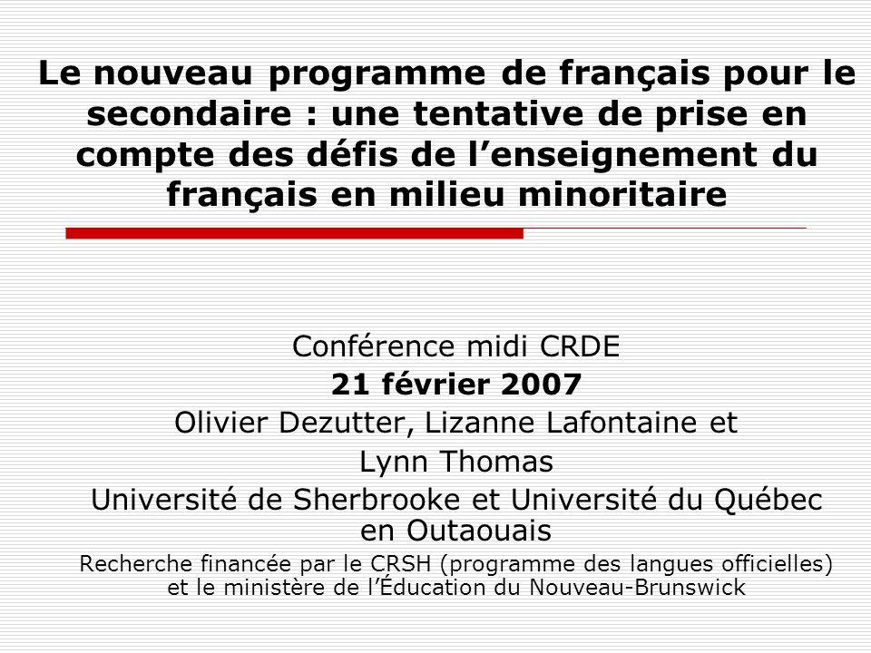 Le nouveau programme de français pour le secondaire : une tentative de prise en compte des défis de lenseignement du français en milieu minoritaire Co