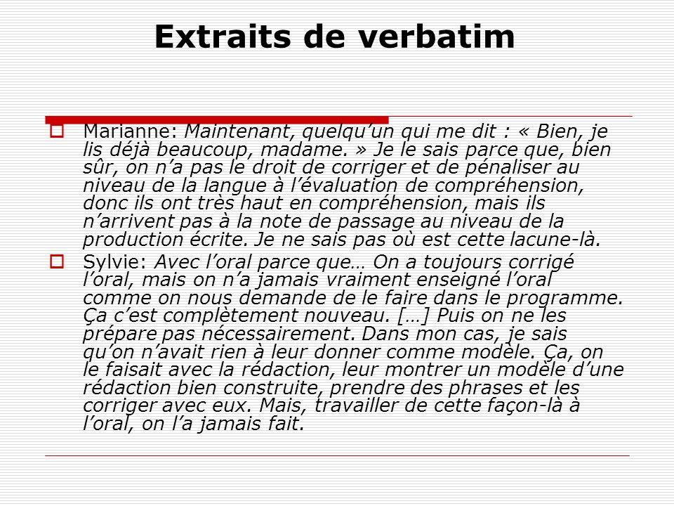 Extraits de verbatim Marianne: Maintenant, quelquun qui me dit : « Bien, je lis déjà beaucoup, madame.
