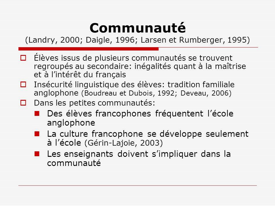 Communauté (Landry, 2000; Daigle, 1996; Larsen et Rumberger, 1995) Élèves issus de plusieurs communautés se trouvent regroupés au secondaire: inégalit