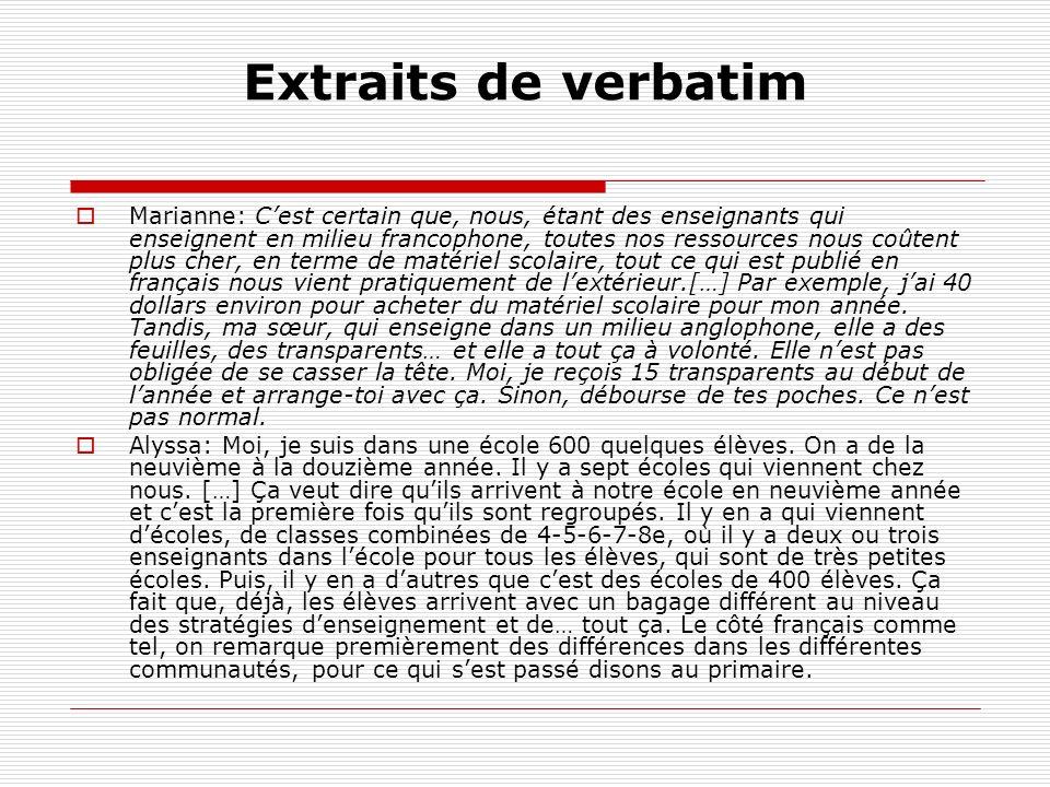 Extraits de verbatim Marianne: Cest certain que, nous, étant des enseignants qui enseignent en milieu francophone, toutes nos ressources nous coûtent
