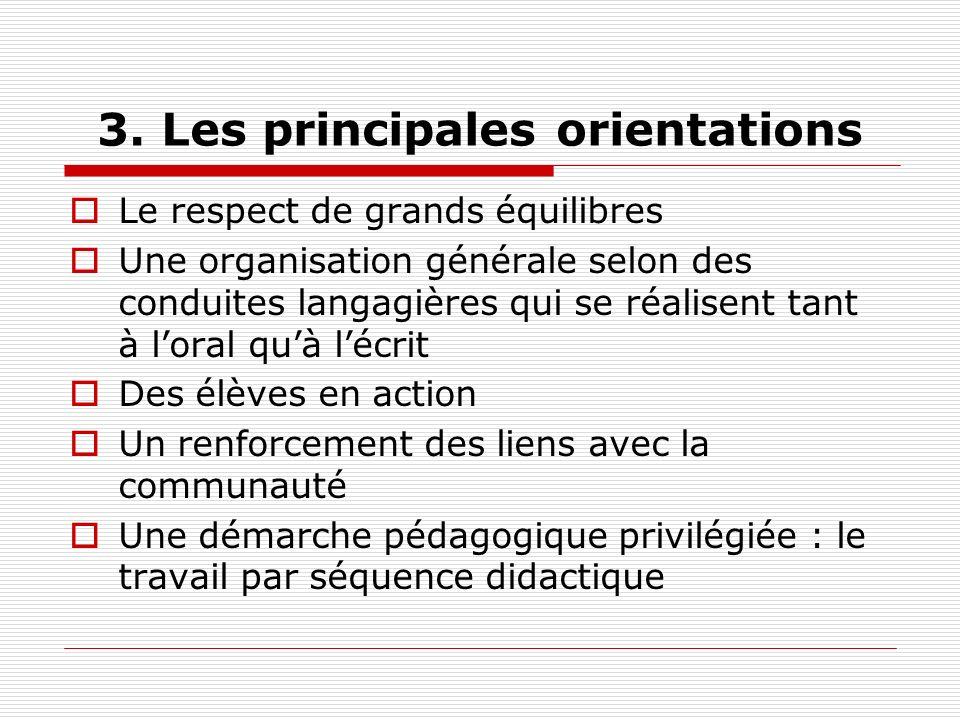 3. Les principales orientations Le respect de grands équilibres Une organisation générale selon des conduites langagières qui se réalisent tant à lora