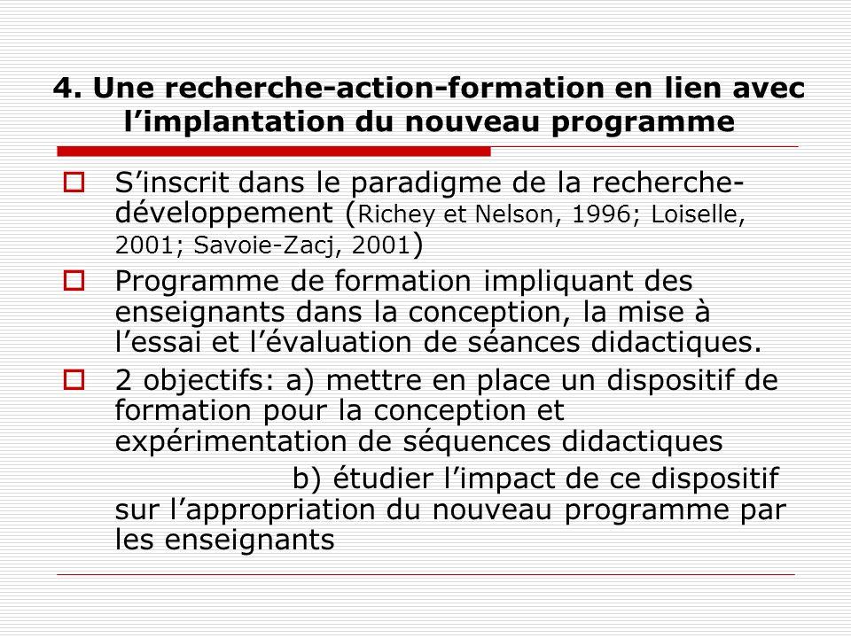 4. Une recherche-action-formation en lien avec limplantation du nouveau programme Sinscrit dans le paradigme de la recherche- développement ( Richey e