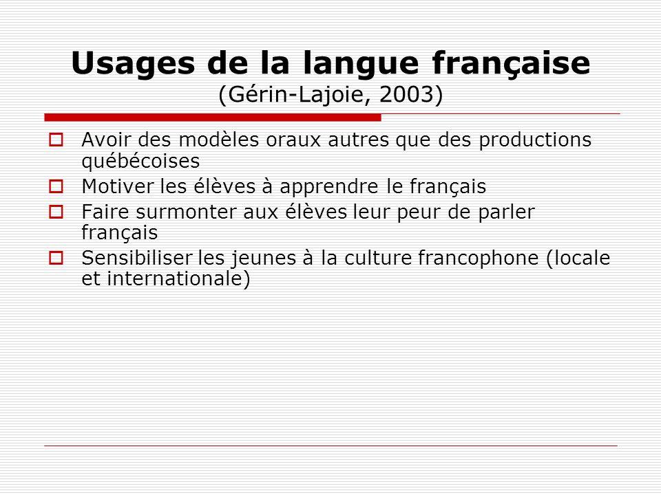 Usages de la langue française (Gérin-Lajoie, 2003) Avoir des modèles oraux autres que des productions québécoises Motiver les élèves à apprendre le fr