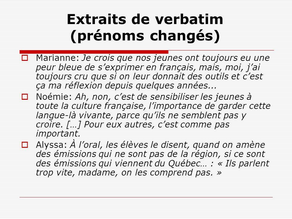 Extraits de verbatim (prénoms changés) Marianne: Je crois que nos jeunes ont toujours eu une peur bleue de sexprimer en français, mais, moi, jai toujours cru que si on leur donnait des outils et cest ça ma réflexion depuis quelques années...