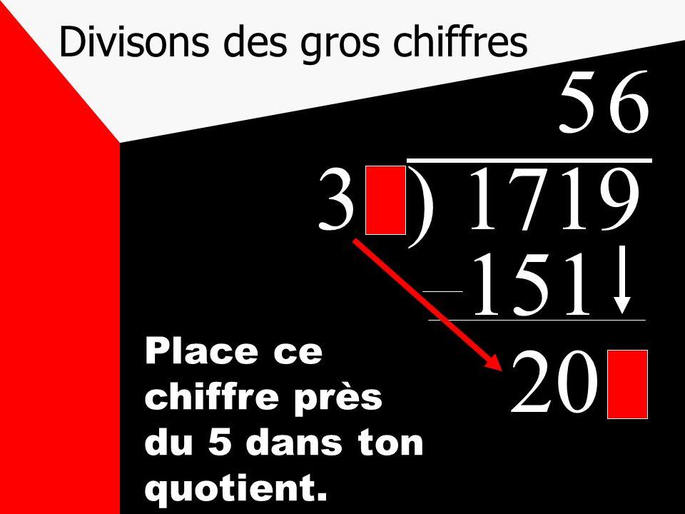 Divisons des gros chiffres 31) 1719 5 151 209 Place ce chiffre près du 5 dans ton quotient. 6