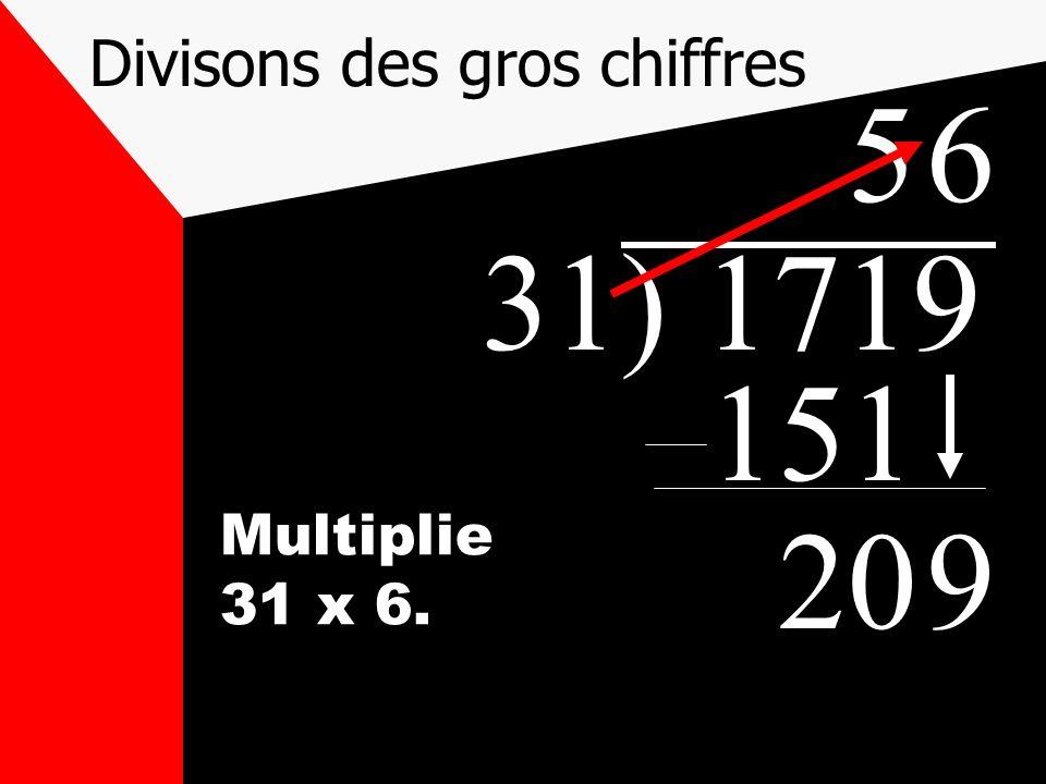 Divisons des gros chiffres 31) 1719 5 151 209 Multiplie 31 x 6. 6