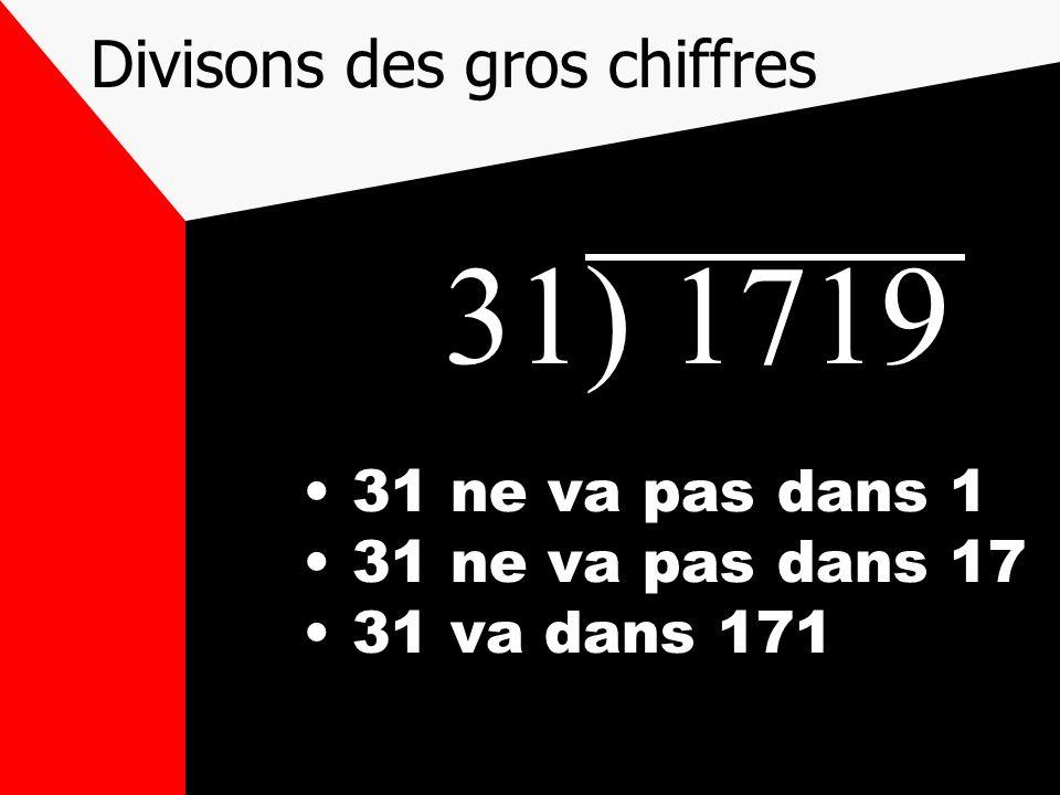 Divisons des gros chiffres 31) 1719 31 ne va pas dans 1 31 ne va pas dans 17 31 va dans 171