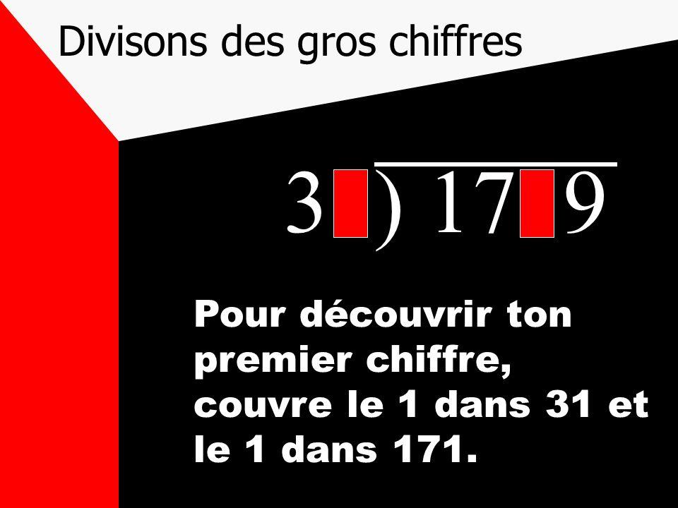 Divisons des gros chiffres 31) 1719 Pour découvrir ton premier chiffre, couvre le 1 dans 31 et le 1 dans 171.