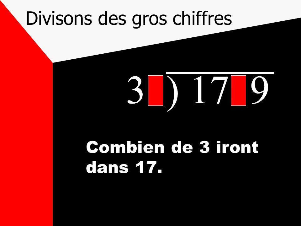 Divisons des gros chiffres 31) 1719 Combien de 3 iront dans 17.