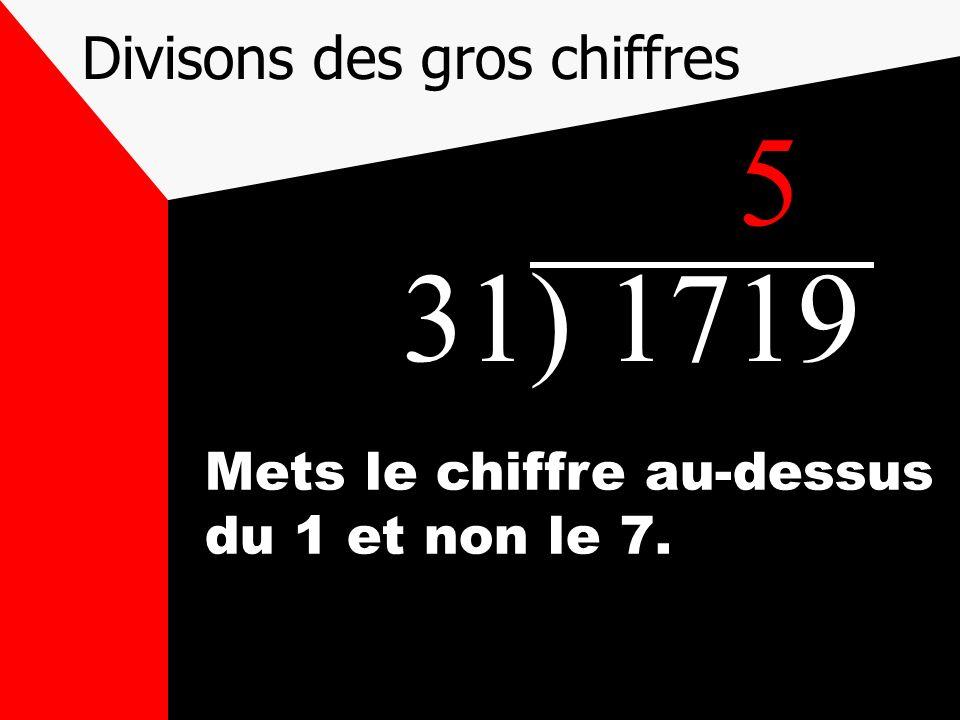 Divisons des gros chiffres 31) 1719 Mets le chiffre au-dessus du 1 et non le 7. 5