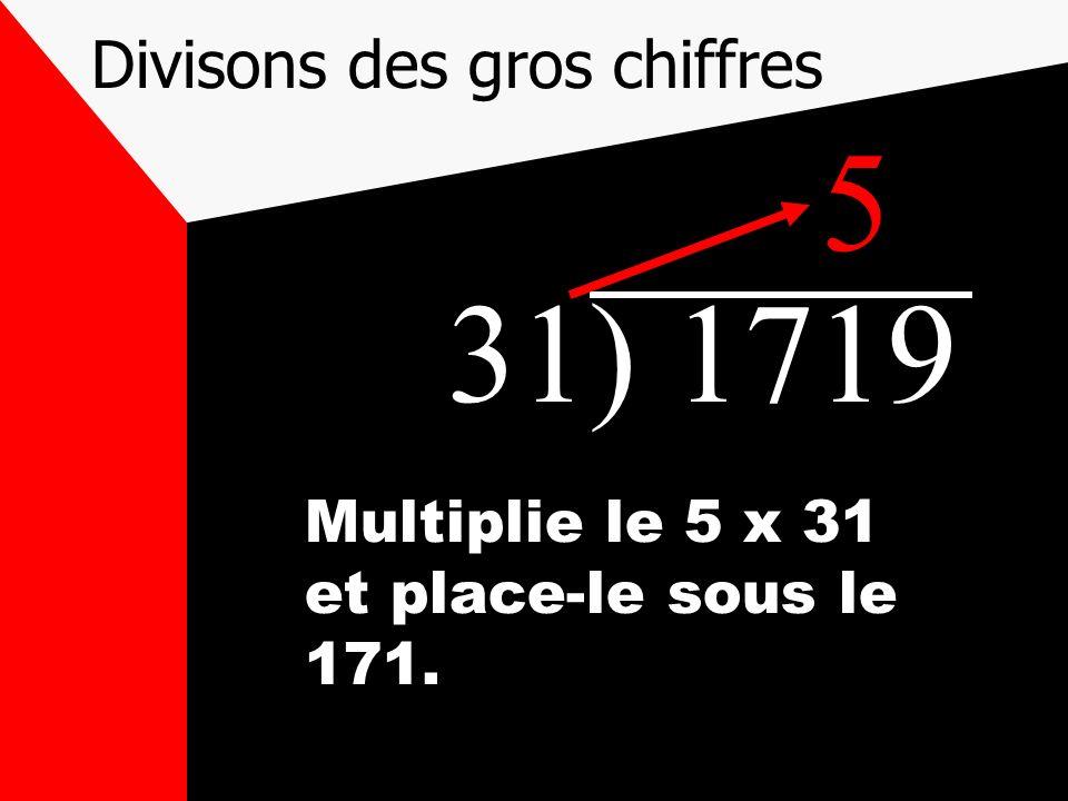 Divisons des gros chiffres 31) 1719 Multiplie le 5 x 31 et place-le sous le 171. 5