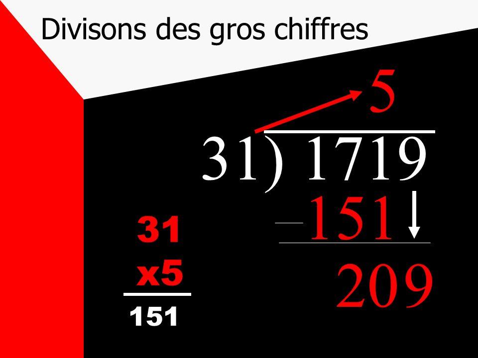 Divisons des gros chiffres 31) 1719 31 x5 5 151 209