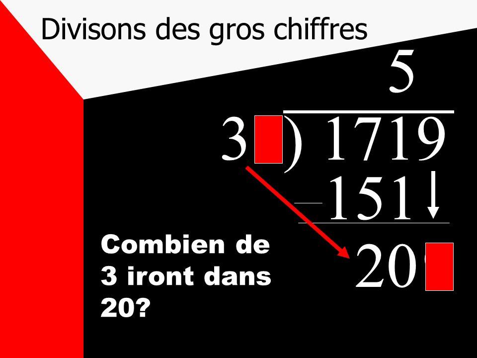 Divisons des gros chiffres 31) 1719 5 151 209 Combien de 3 iront dans 20?