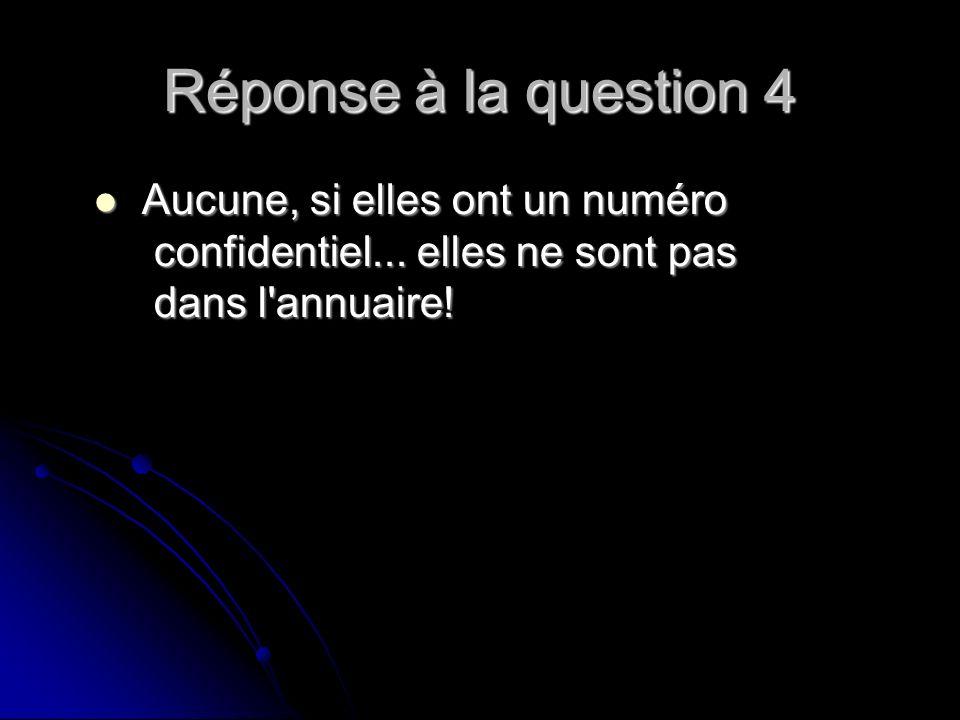 Réponse à la question 4 Aucune, si elles ont un numéro confidentiel...