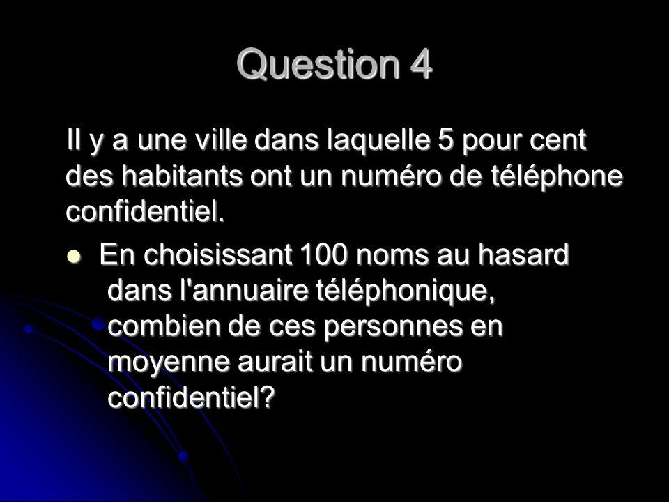 Question 4 Il y a une ville dans laquelle 5 pour cent des habitants ont un numéro de téléphone confidentiel.