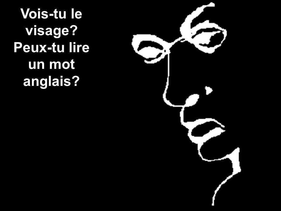 Vois-tu le visage? Peux-tu lire un mot anglais?