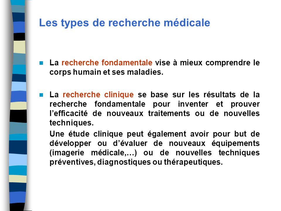 Les types de recherche médicale La recherche fondamentale vise à mieux comprendre le corps humain et ses maladies. La recherche clinique se base sur l