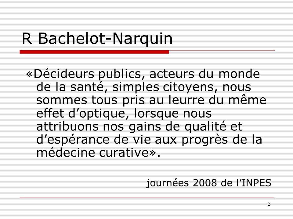 3 R Bachelot-Narquin «Décideurs publics, acteurs du monde de la santé, simples citoyens, nous sommes tous pris au leurre du même effet doptique, lorsq