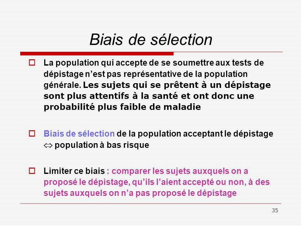 35 Biais de sélection La population qui accepte de se soumettre aux tests de dépistage nest pas représentative de la population générale. Les sujets q