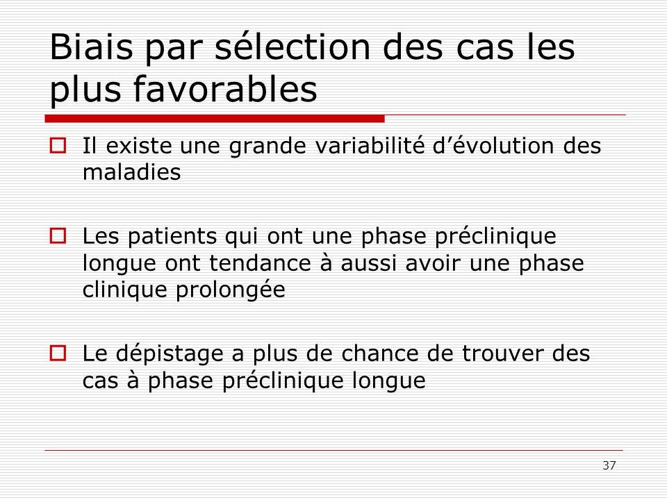 37 Biais par sélection des cas les plus favorables Il existe une grande variabilité dévolution des maladies Les patients qui ont une phase préclinique